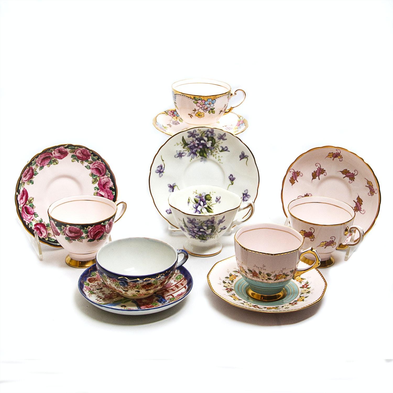 Vintage Fine English Bone China Teacups and Saucers