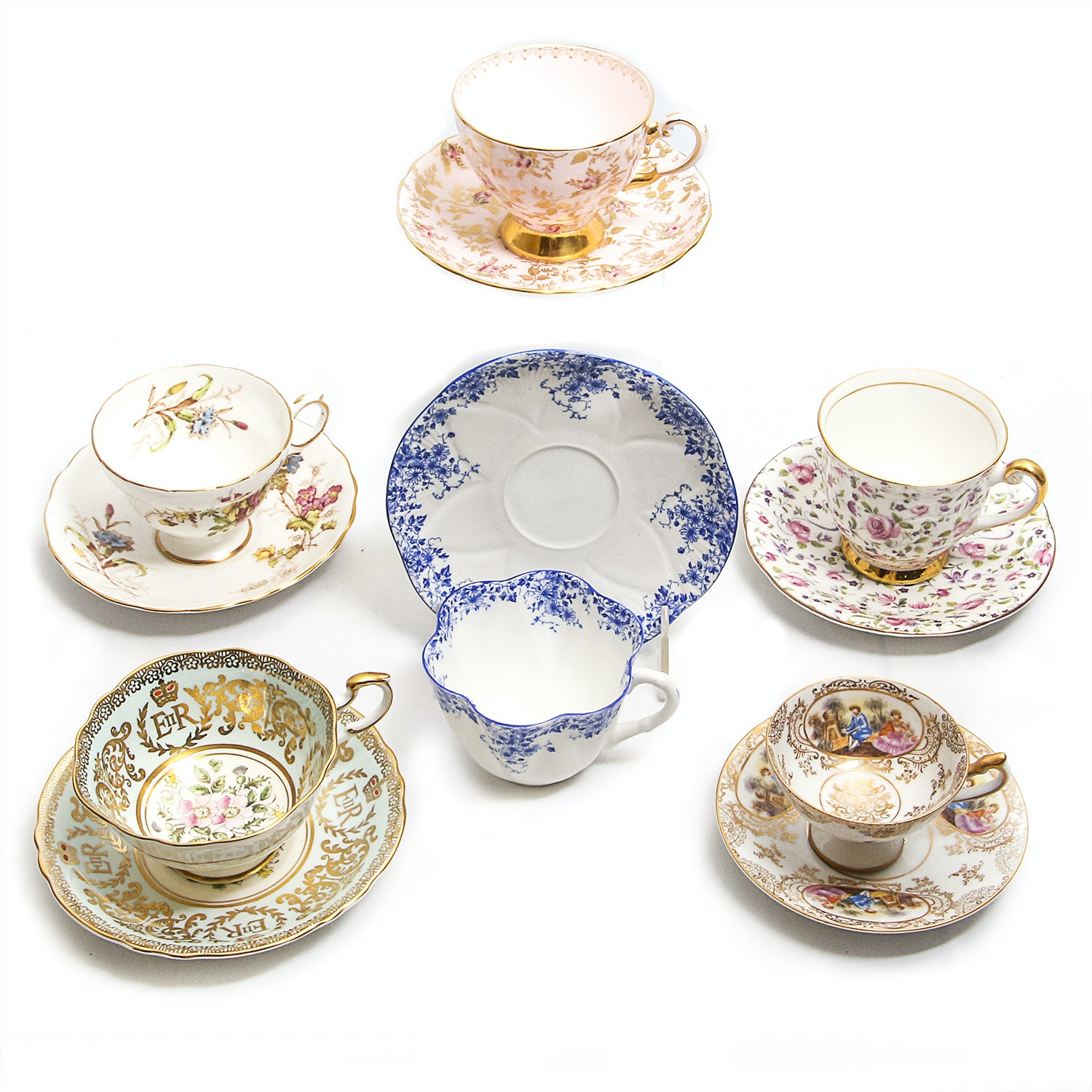 Collection of Porcelain Teacups and Saucer Pairs