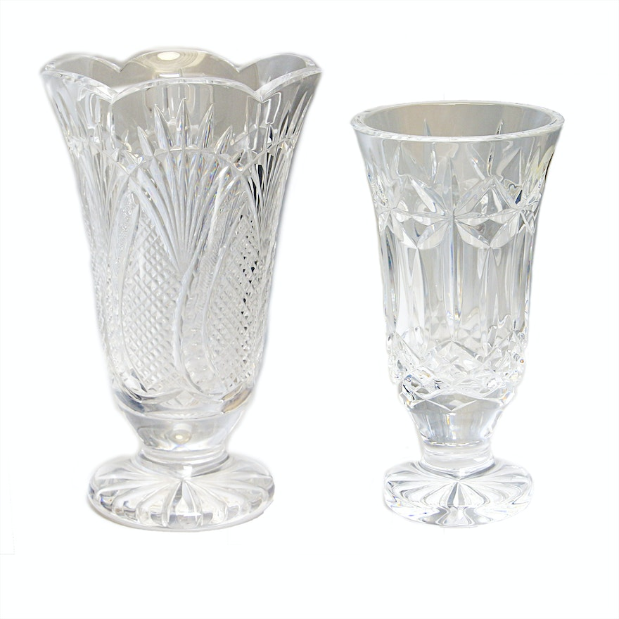 Waterford Crystal Seahorse And Balmoral Vases Ebth
