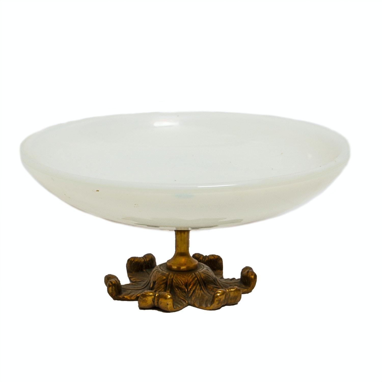 Vintage Murano Art Glass Bowl with Brass Pedestal Base