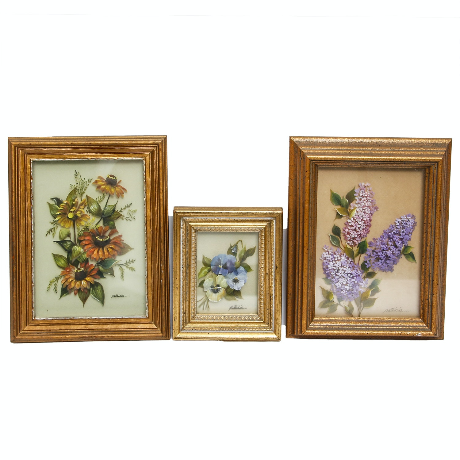 Collection of Reverse Glass Flower Paintings