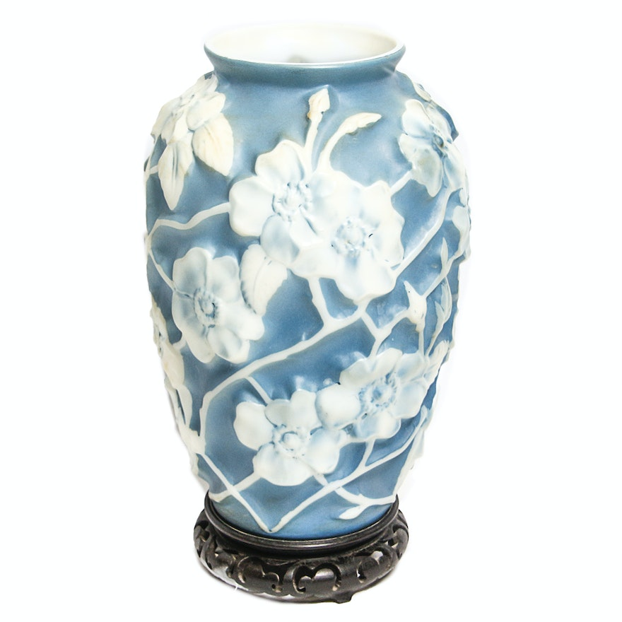 Vintage Phoenix Consolidated Glass Blue And White Floral Vase Ebth