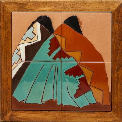 "Dolona Roberts Original Handpainted Tile Art ""Desert Blankets"""