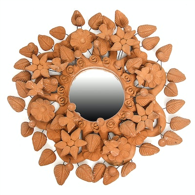 Vintage Mexican Hand-Sculpted Terracotta Wall Mirror