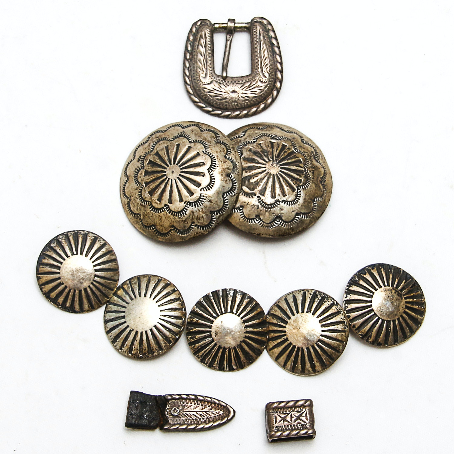 Sterling Silver Buckle, Buttons and Conchos