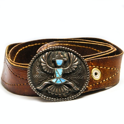 Leather Belt and 800 Silver Buckle with Howlite Inlay