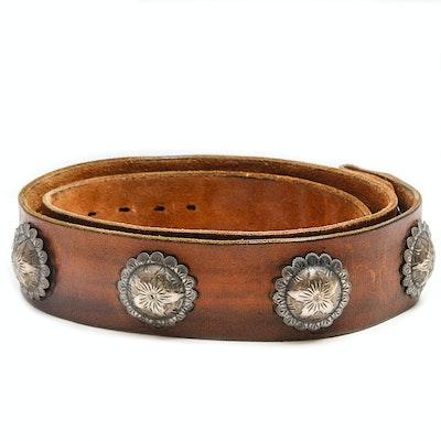 Vintage Sterling Silver Concho Leather Belt