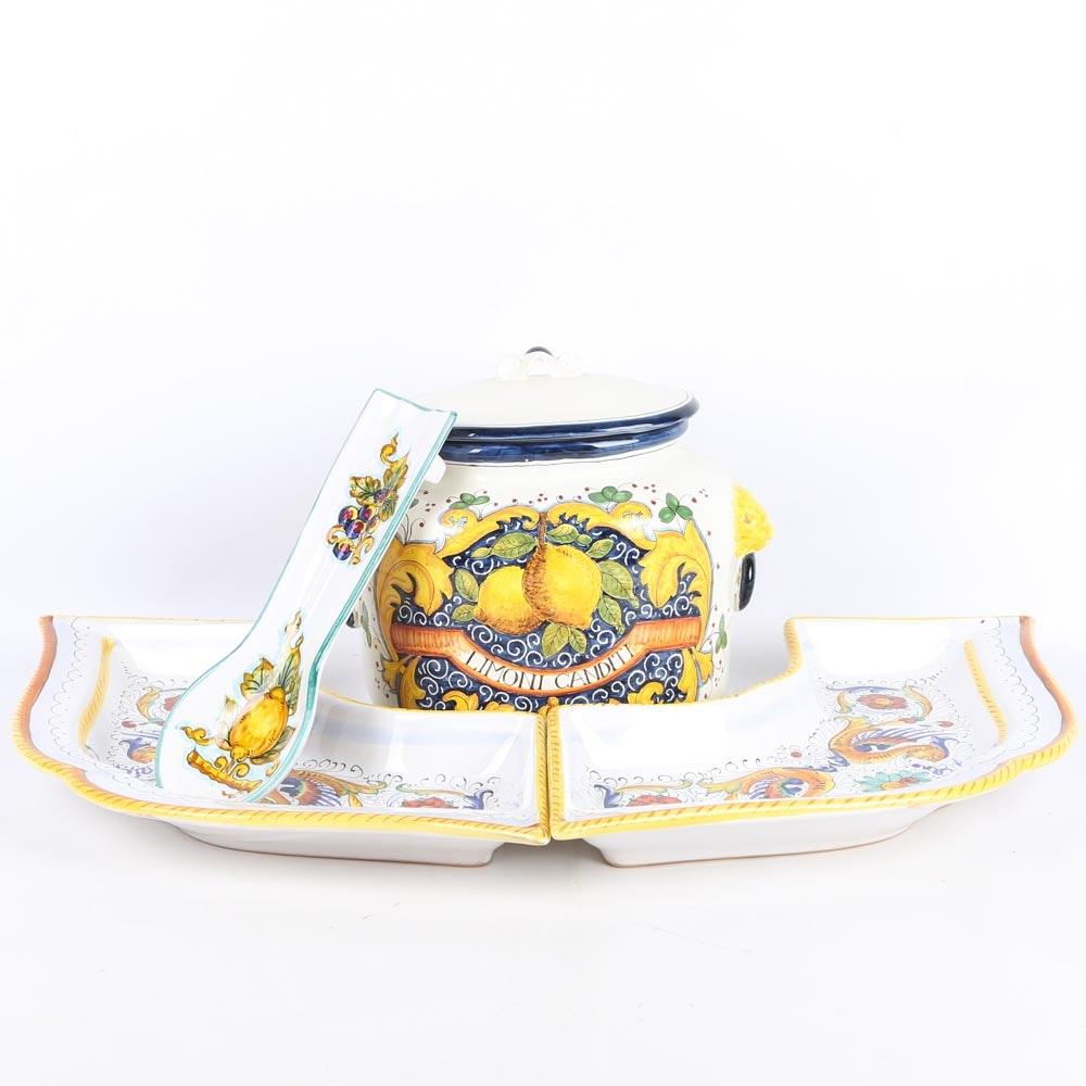 Italian Ceramics Including Deruta and an Gimignano