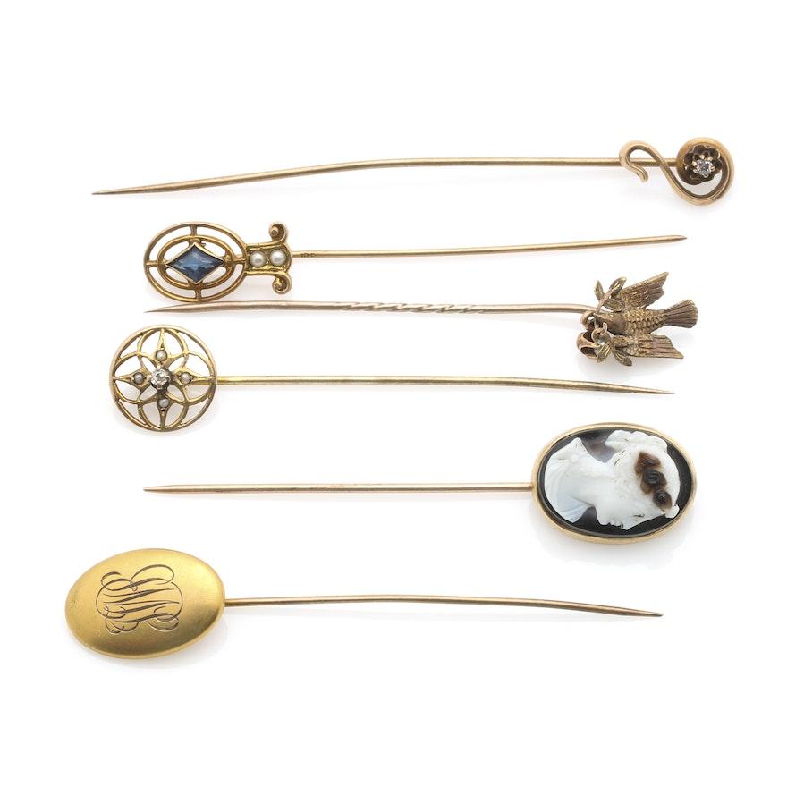 dcd08043379 10K Yellow Gold Stick Pins Including Diamonds : EBTH