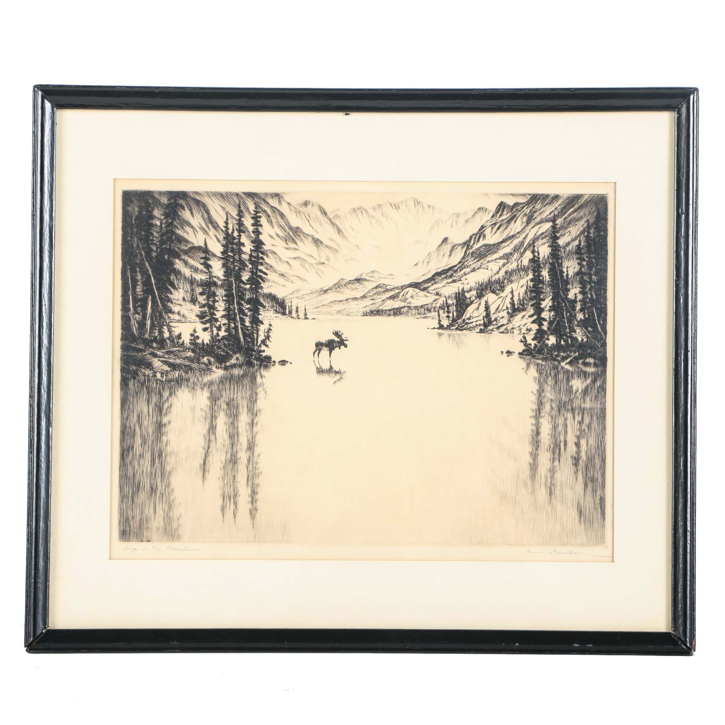 """Hans Kleiber Signed Etching On Paper """"Day In The Rockies"""""""