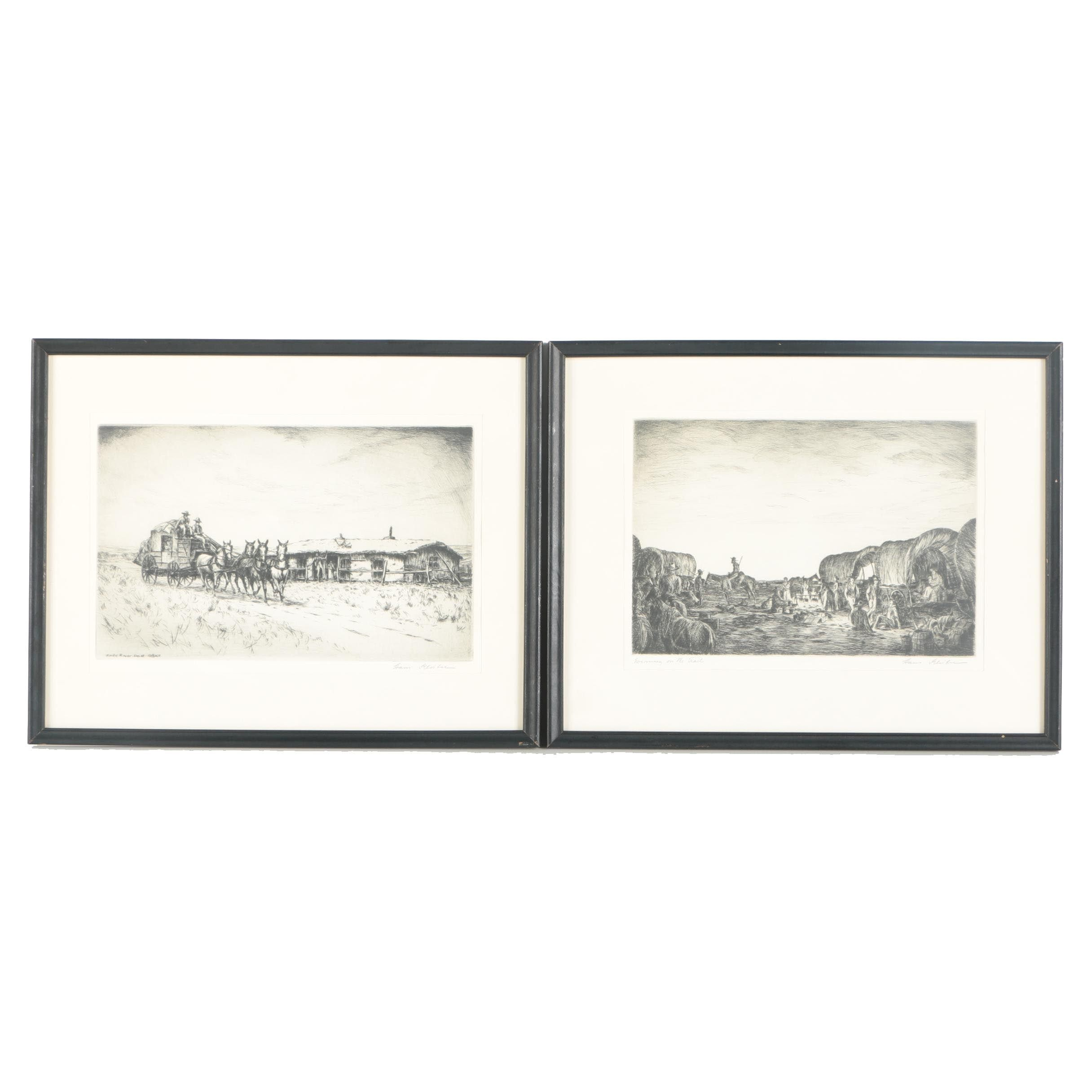 """Hans Kleiber Signed Etchings On Paper """"Knife River Post Office"""" and """"Evening On The Trail"""""""