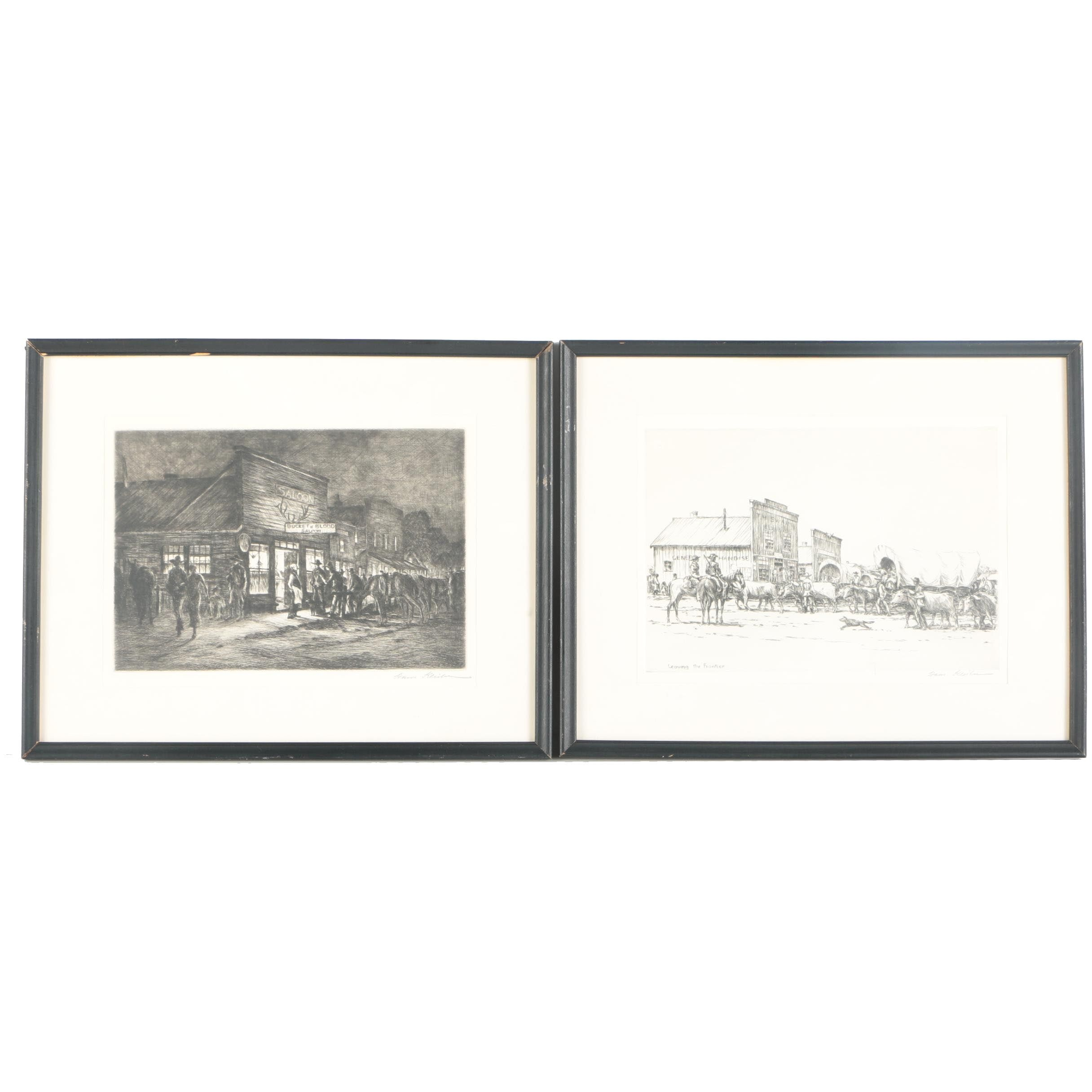 """Hans Kleiber Signed Etchings On Paper """"Bucket Of Blood Saloon"""" and """"Leaving the Frontier"""""""
