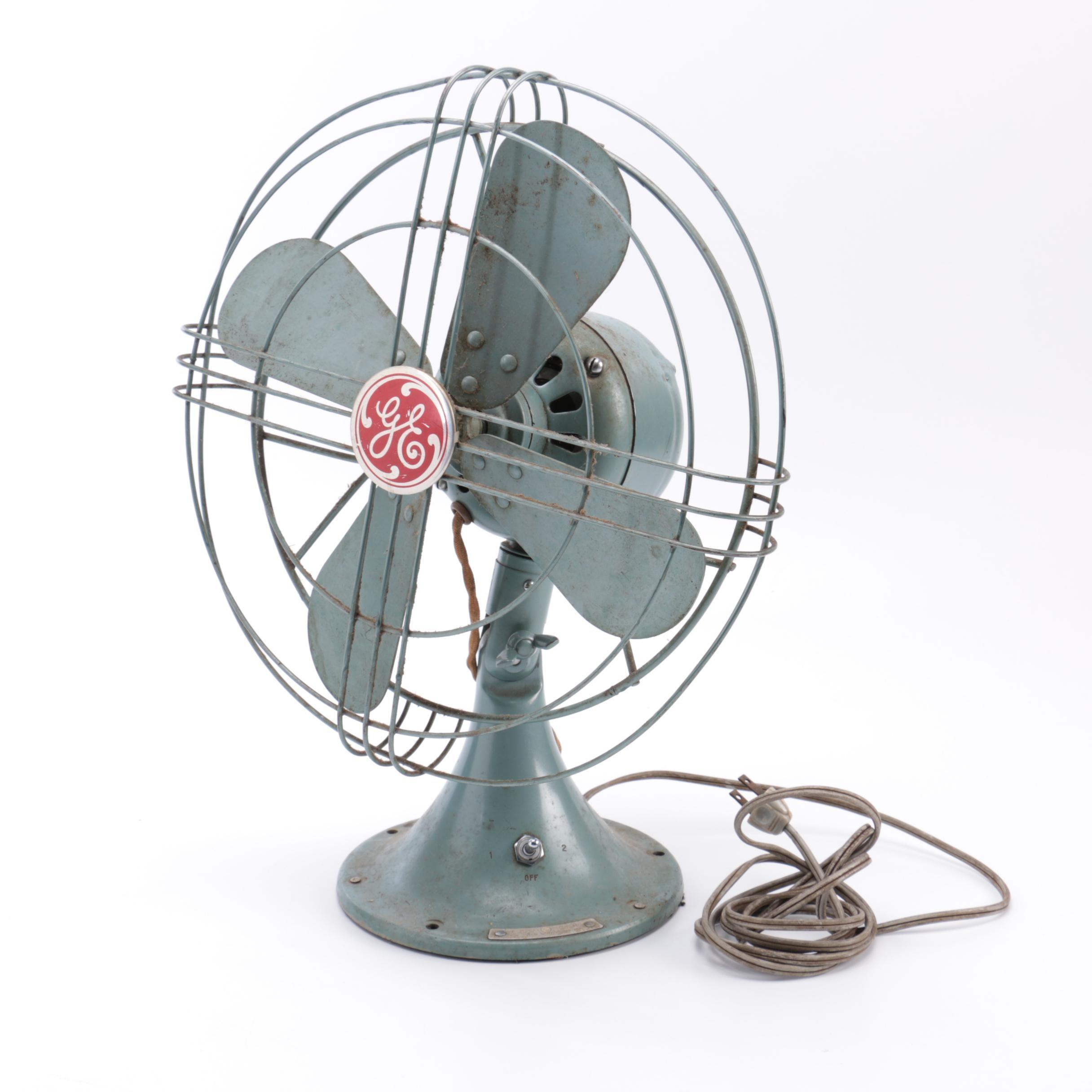 Vintage Gray Steel GE Desk Fan