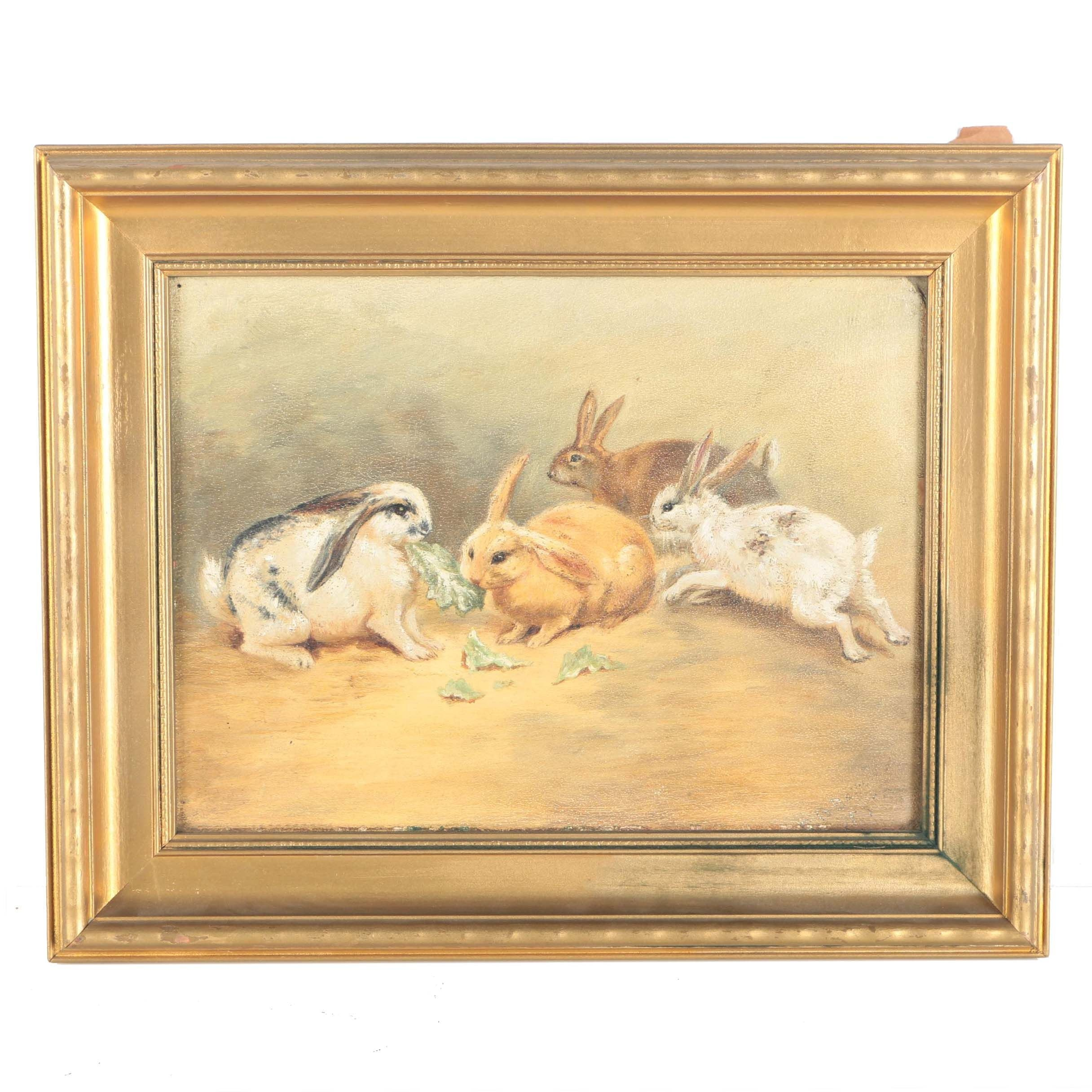 Oil Painting on Board Four Rabbits