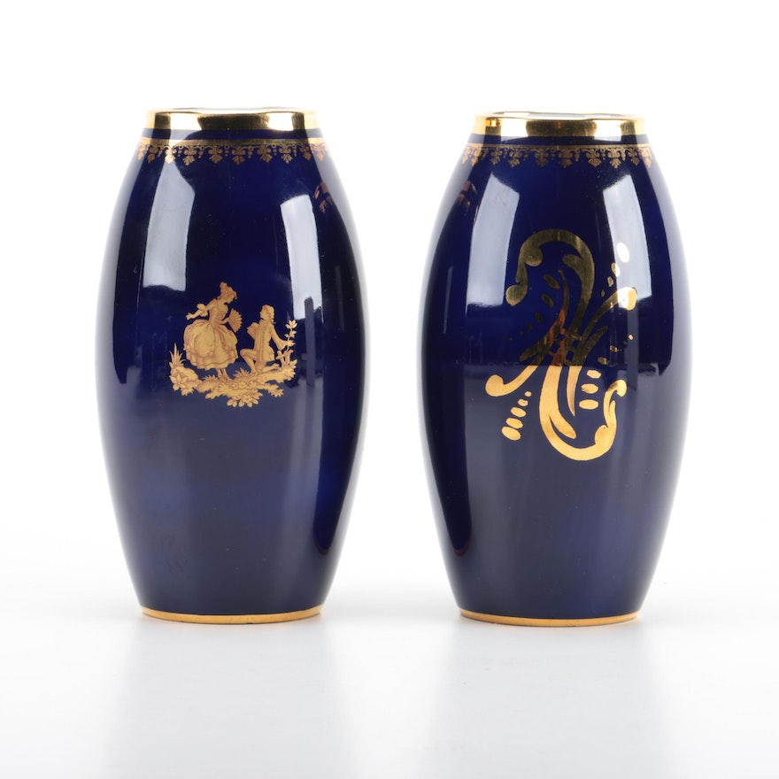Gilt And Cobalt Limoges Vases By Chris Dan Ebth