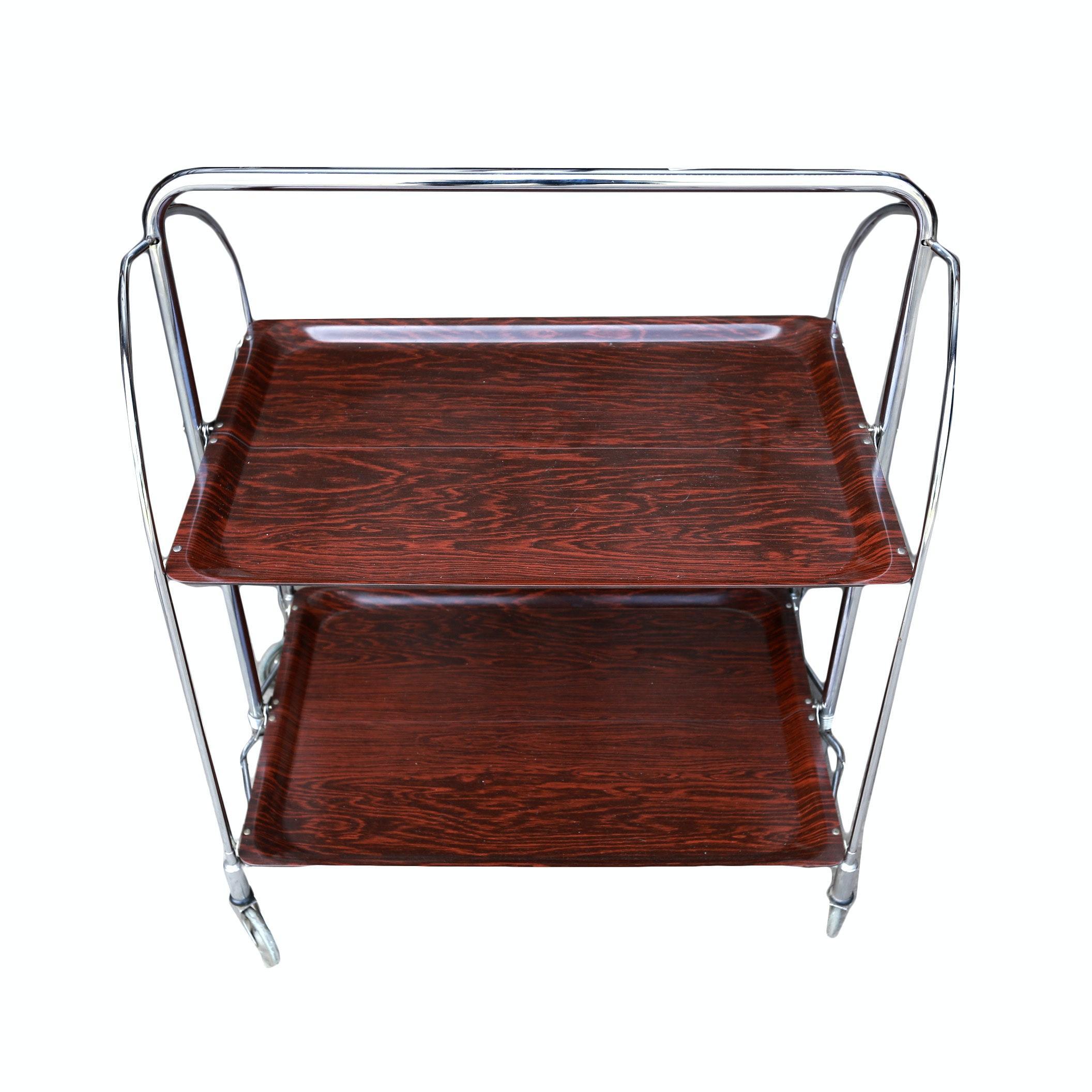Mid Century Metal Bar Cart