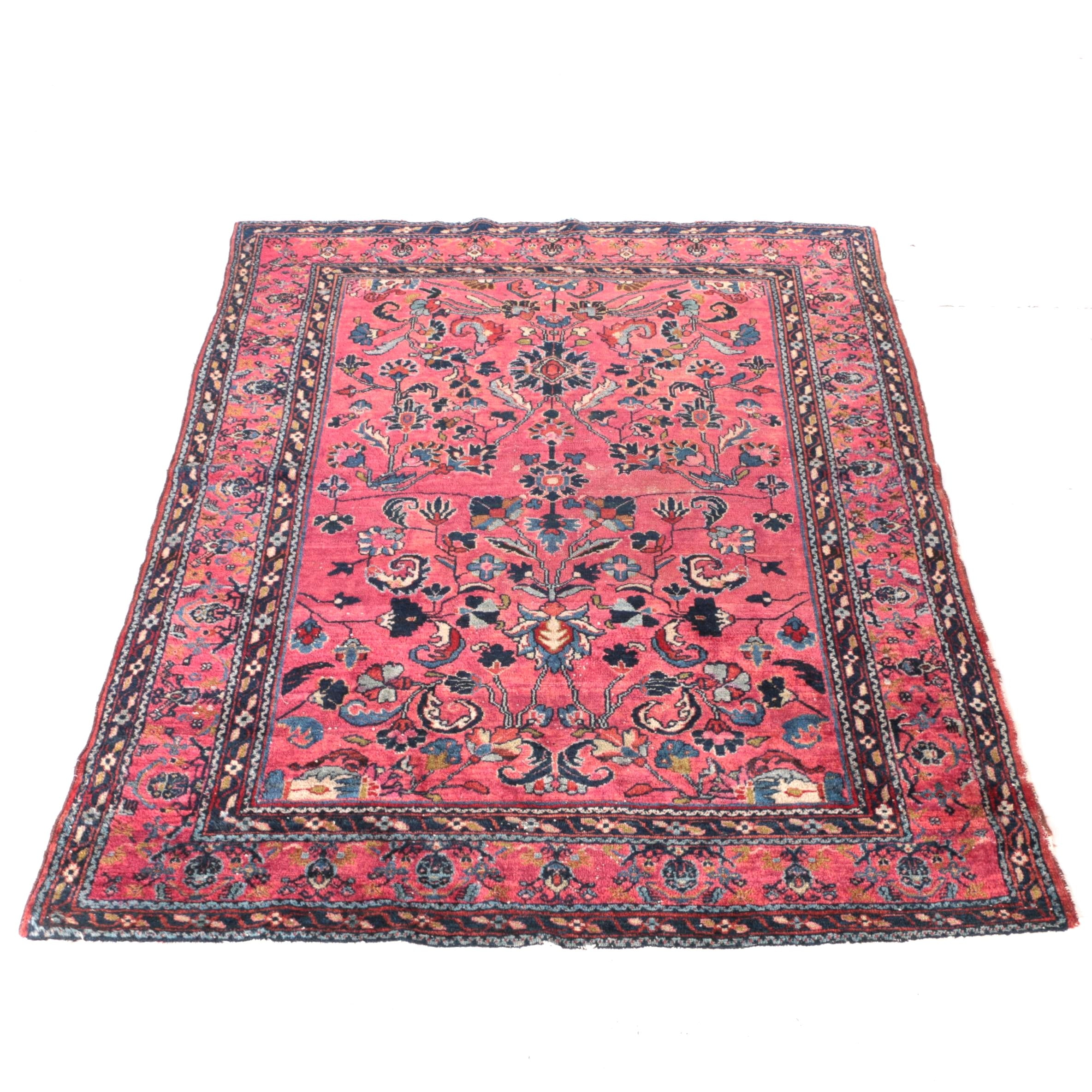 Semi-Antique Hand-Knotted Persian Arak Area Rug