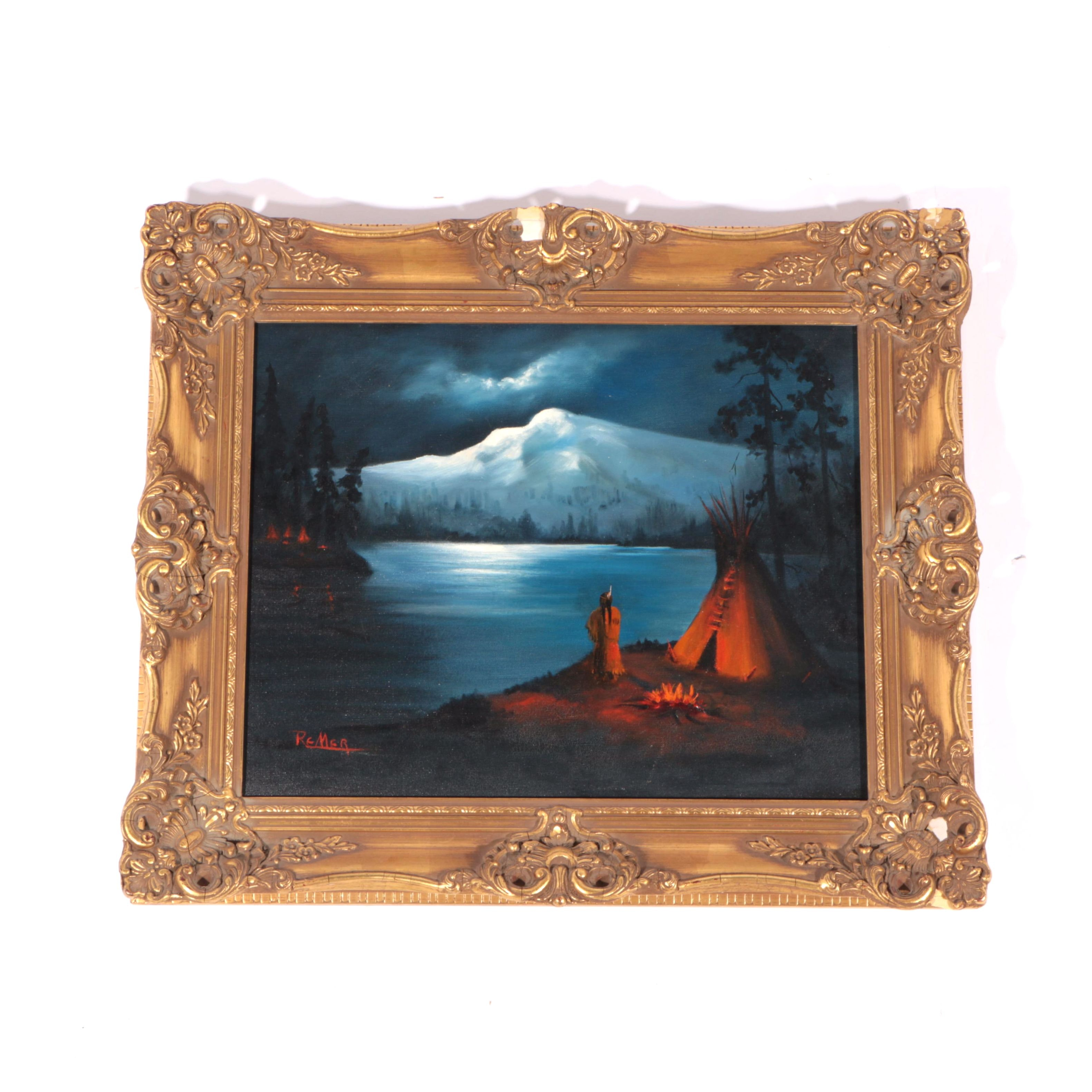 Remer Oil Painting on Canvas of Native American Campsite