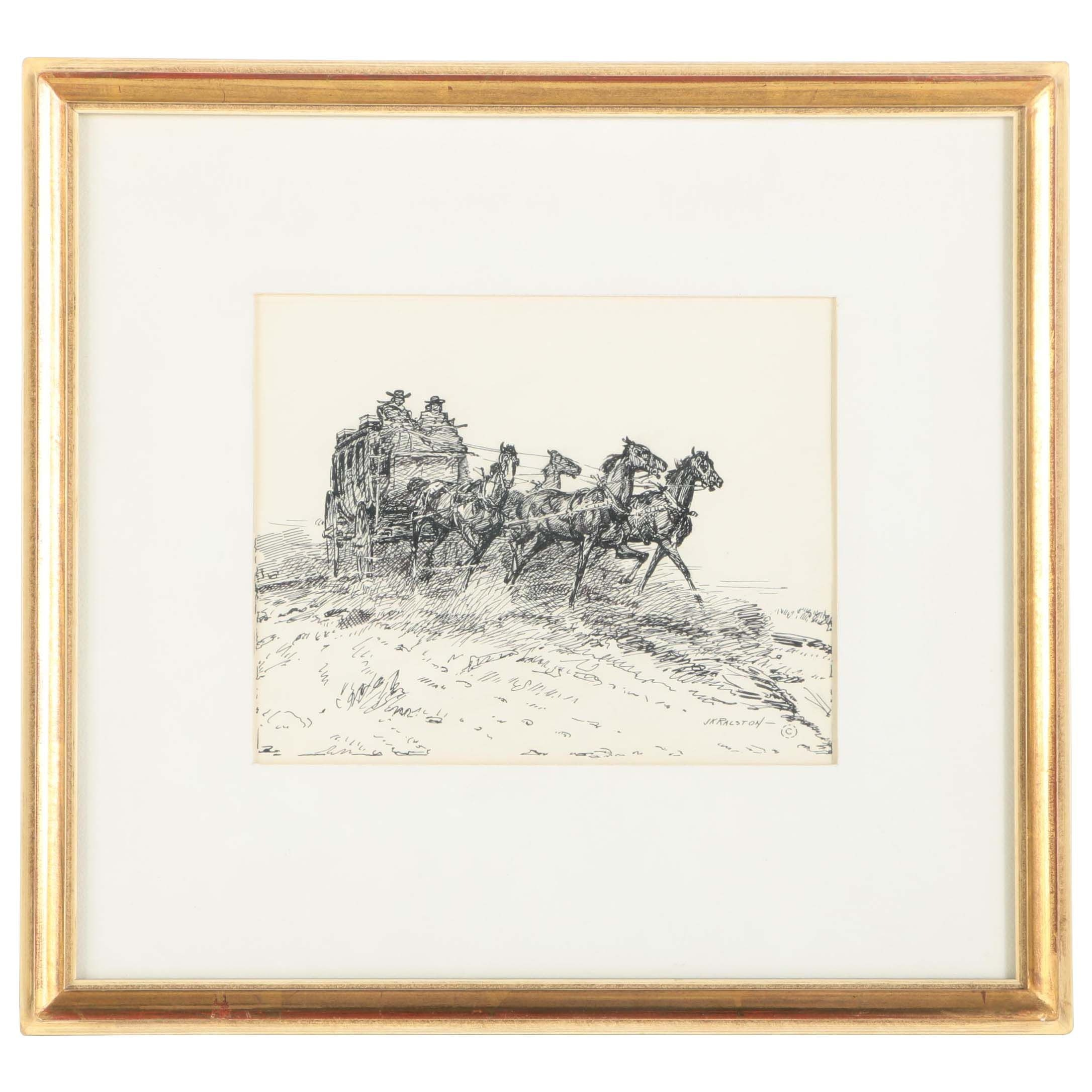 """J.K. Ralston Signed Ink On Paper Drawing """"Four Up"""""""