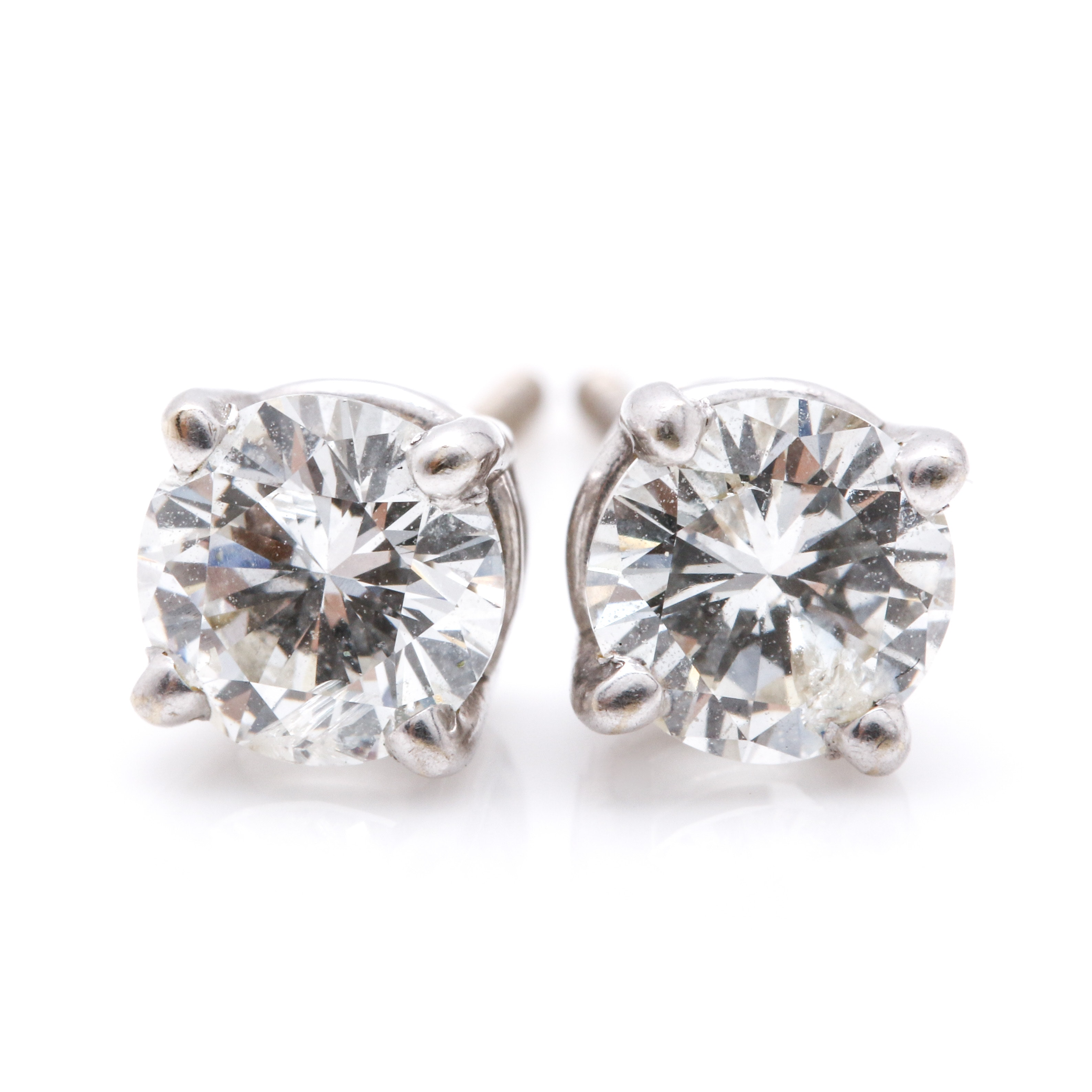14K White Gold 1.10 CTW Diamond Stud Earrings