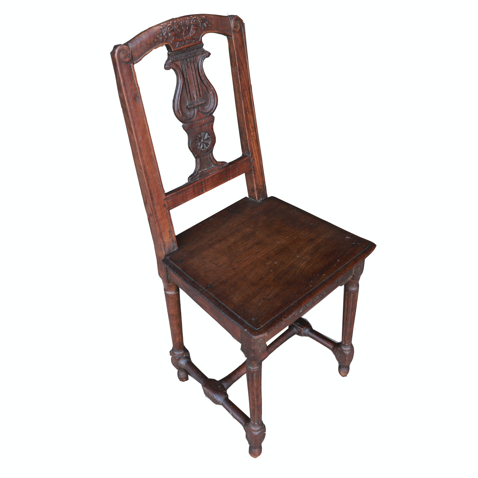 Antique French Neoclassical Style Carved Oak Side Chair