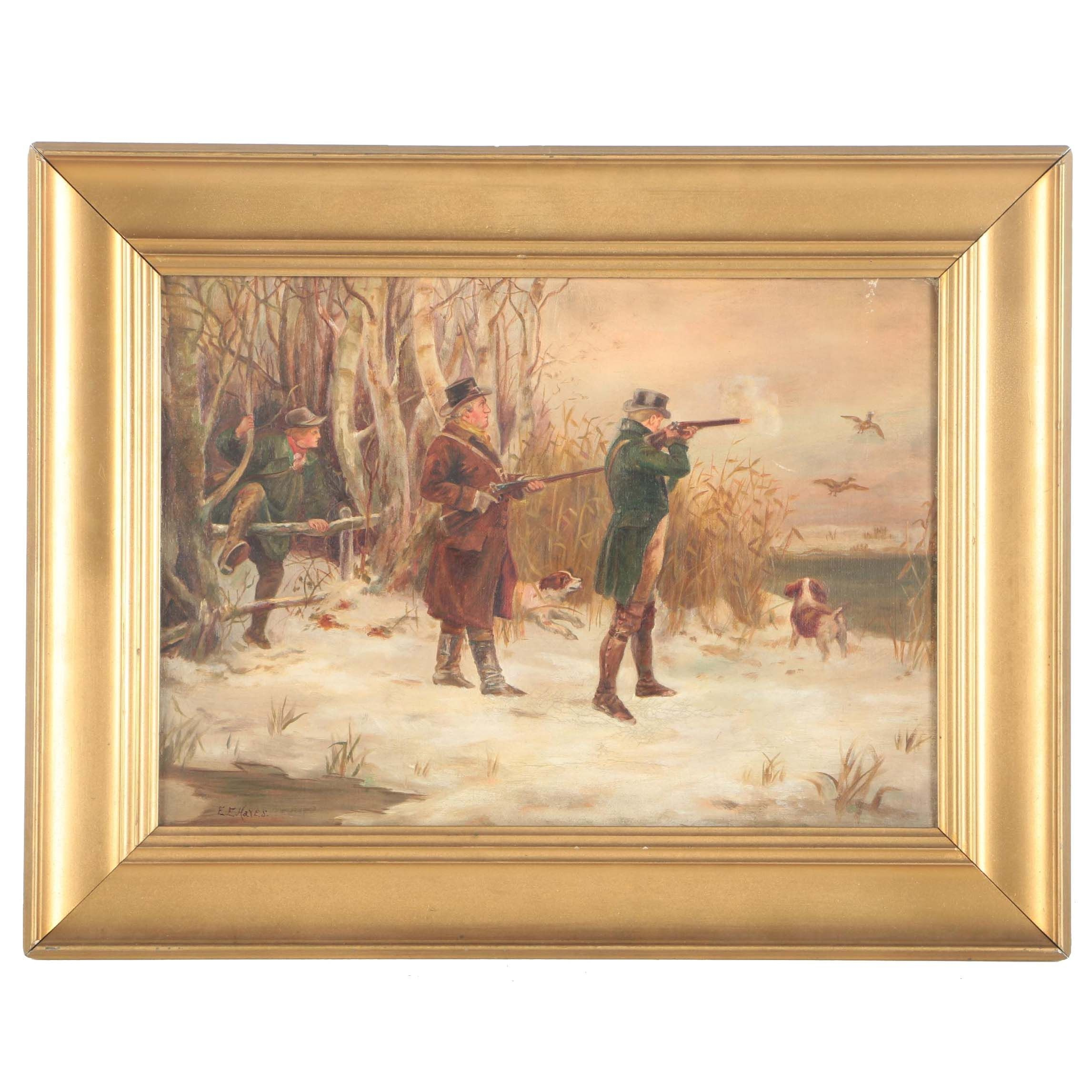 E.E. Hayes Oil Painting on Canvas of Three Hunters