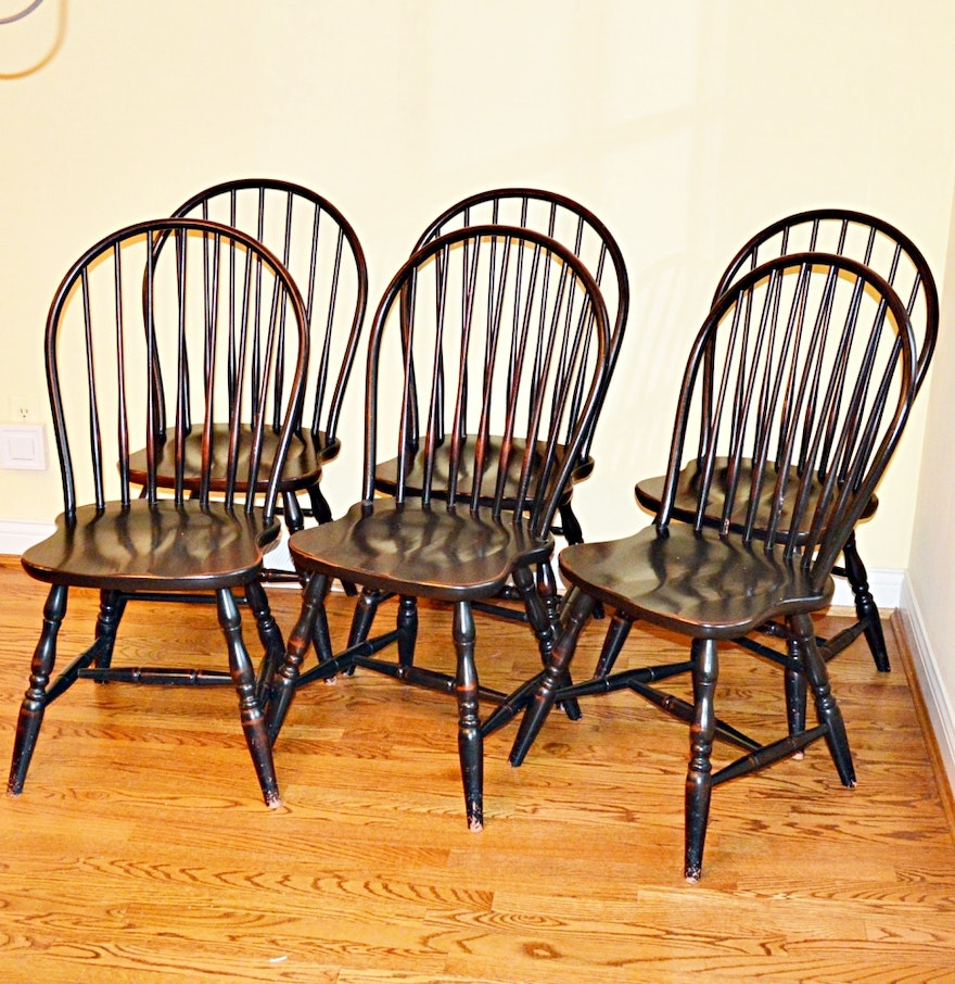 Country crafted wooden chair and stool ebth - Windsor Style Bow Back Side Chairs By David T Smith