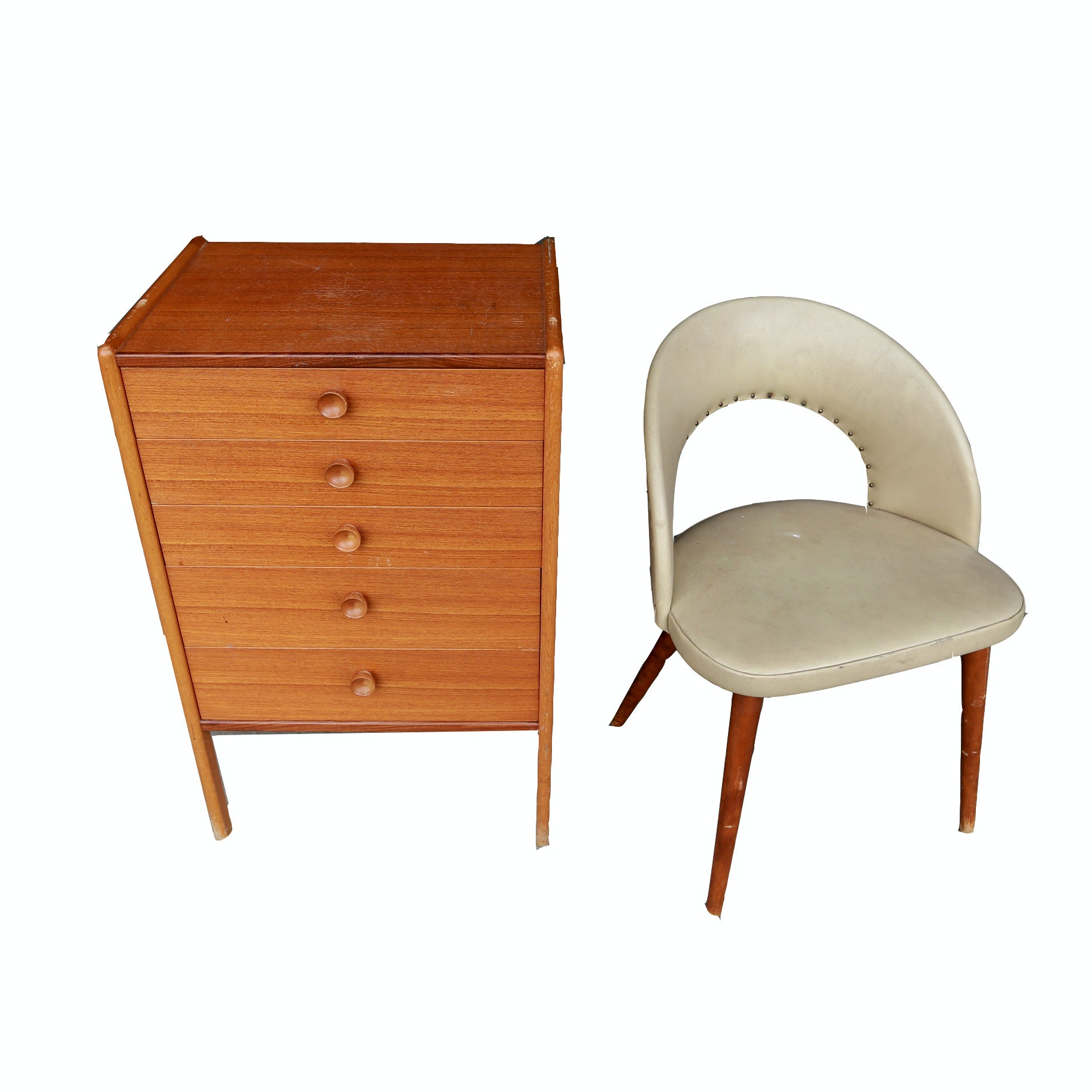 Danish Modern Small Wooden Chest of Drawers and Vinyl Side Chair
