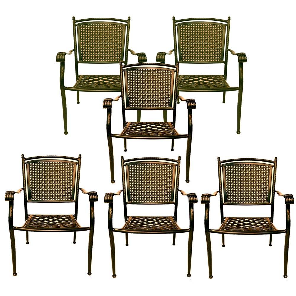 Set of Six Black Metal Patio Arm Chairs