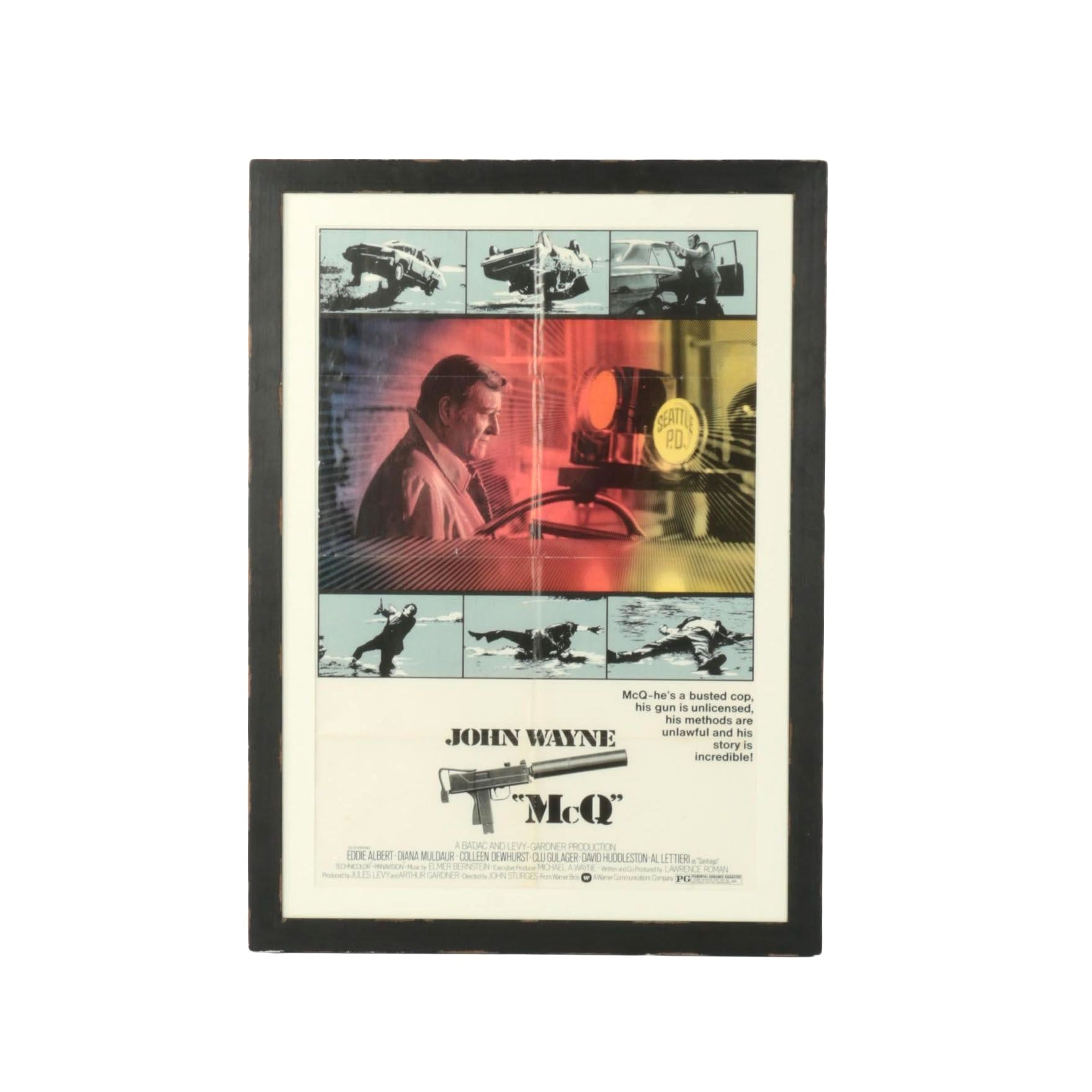 "Framed Offset Lithograph Movie Poster of John Wayne's ""McQ"""