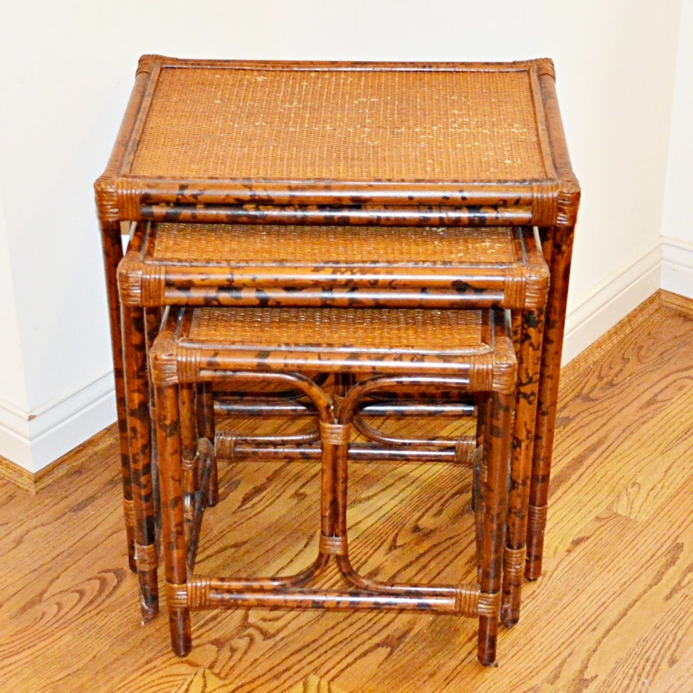 Wicker and Faux-Bamboo Nesting Tables