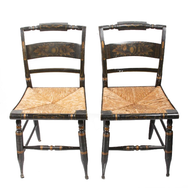 Hitchcock Painted Wooden Chairs With Cane Seats ...
