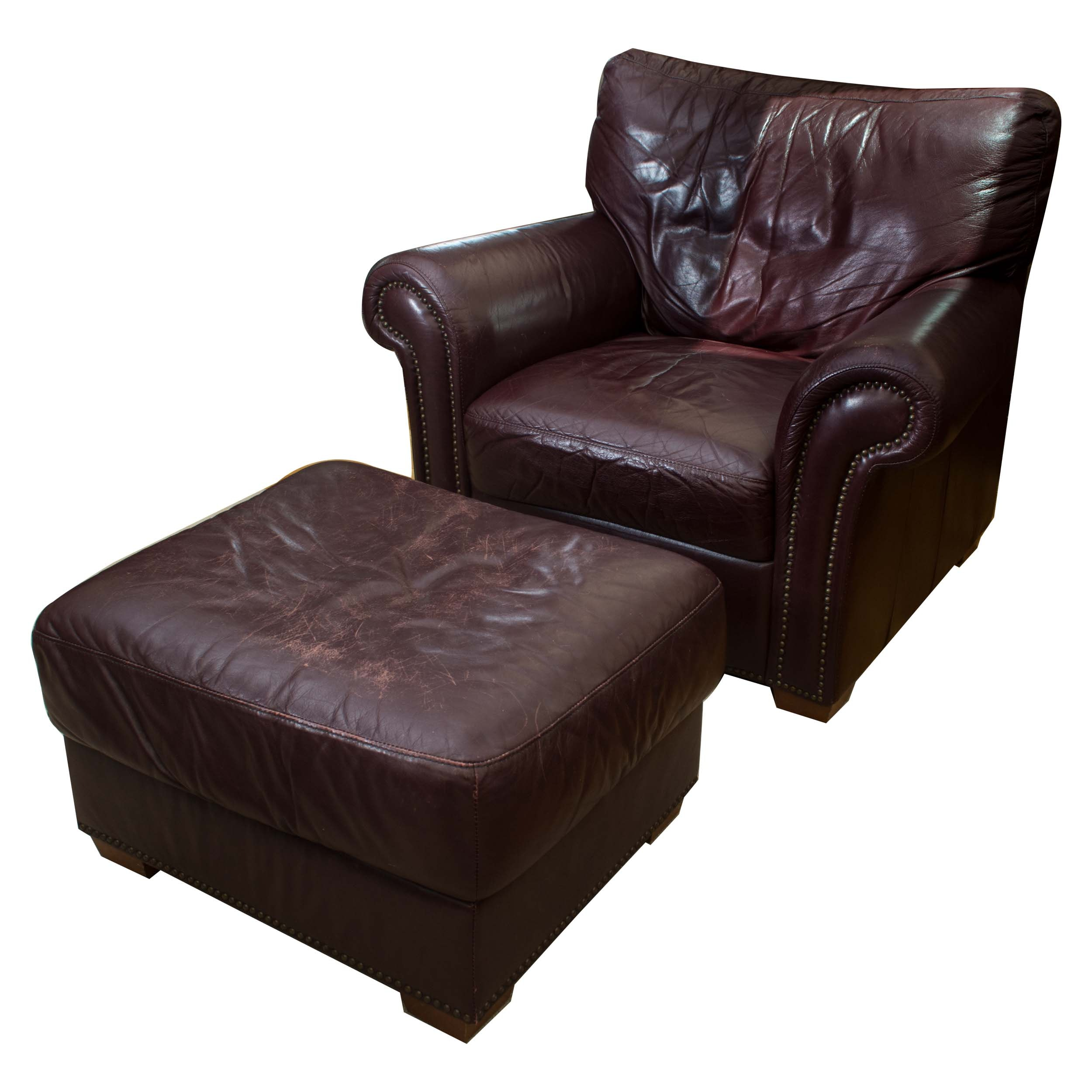 Delightful Burgundy Leather Club Chair With Ottoman ...