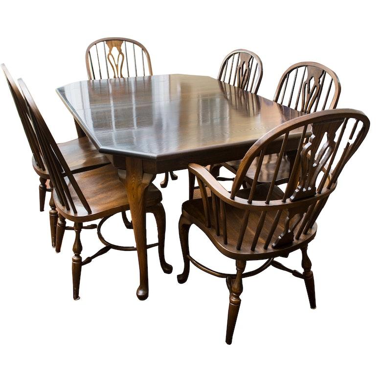Vintage Nichols Stone Oak Dining Set EBTH