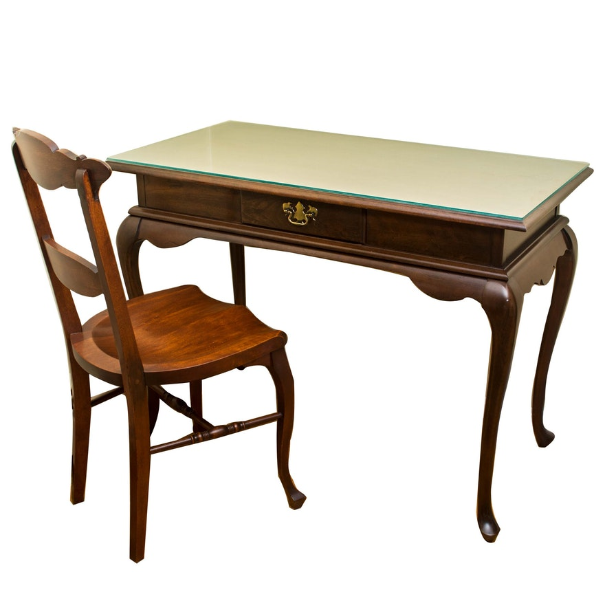 Queen Anne Style Writing Desk With Chair