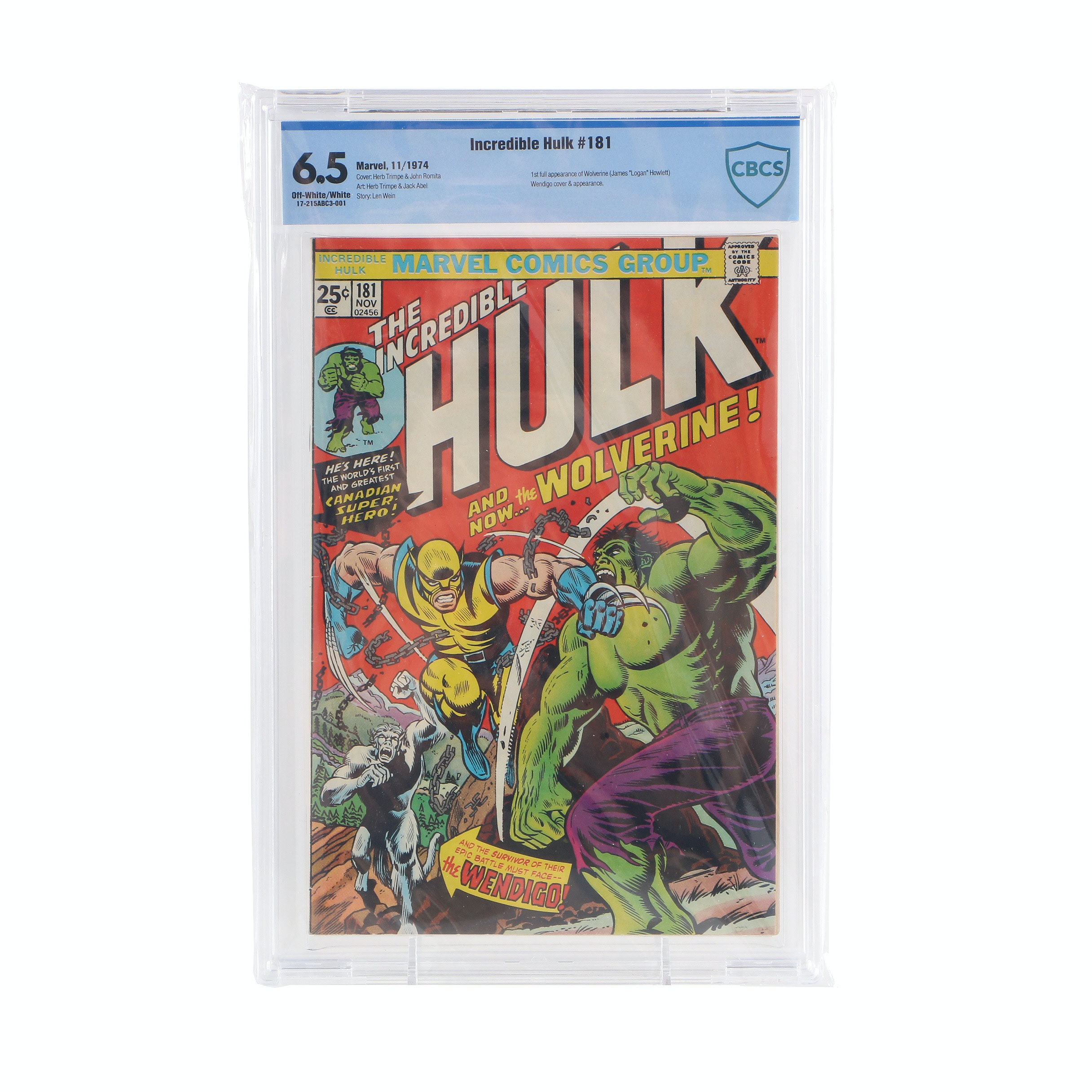 "CBCS Graded 6.5 ""The Incredible Hulk"" Issue #181 Featuring First Full Wolverine Story"
