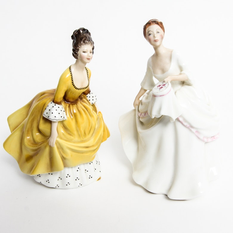 "Pair of Vintage Royal Doulton Figurines ""Coralie"" and ""Carol"""