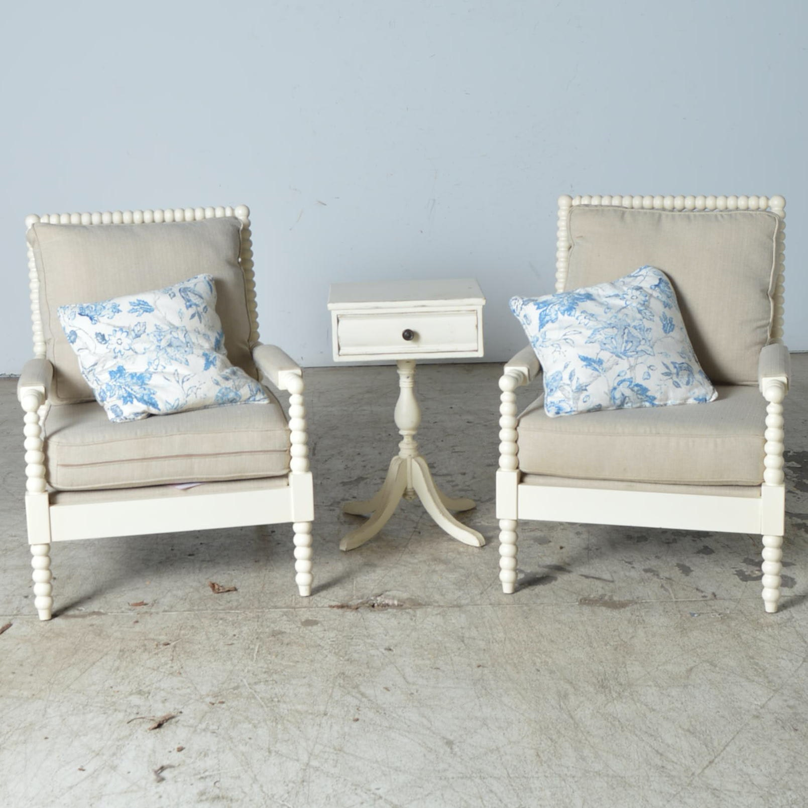 Birch Lane Wooden Armchairs with Side Table