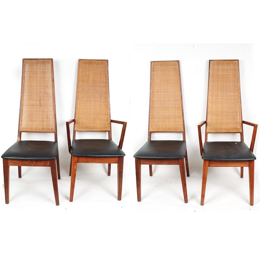 innovative modern high back living room chairs | Set of Mid Century Modern High Back Teak Dining Chairs : EBTH