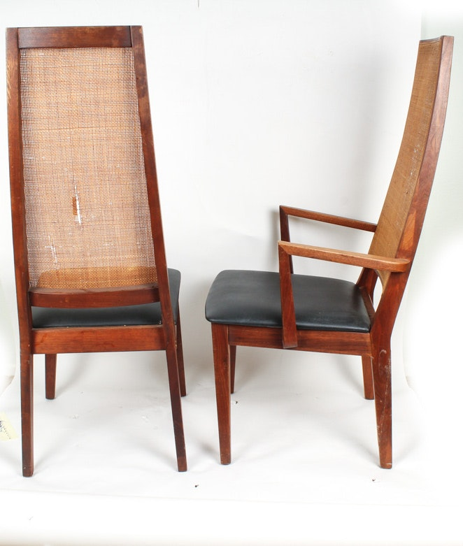 Set of Mid Century Modern High Back Teak Dining Chairs | EBTH