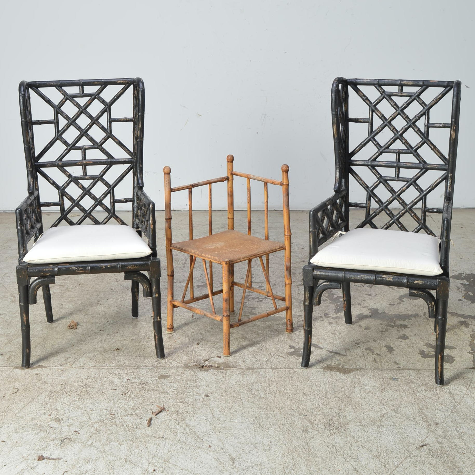 Wooden Bamboo-Style Chairs and Corner Table