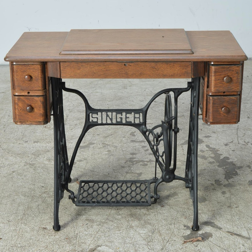 Vintage Oak Sewing Machine Table with Singer Base and ...