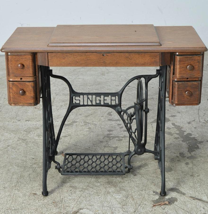 vintage oak sewing machine table with singer base and treadle ebth. Black Bedroom Furniture Sets. Home Design Ideas