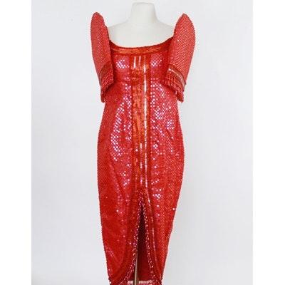 Rene B. Salud Red Sequin Terno Evening Dress