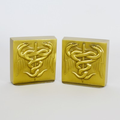 Brass Medical Bookends