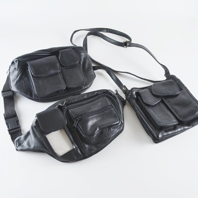 Black Leather Fanny Packs and Crossbody Bag