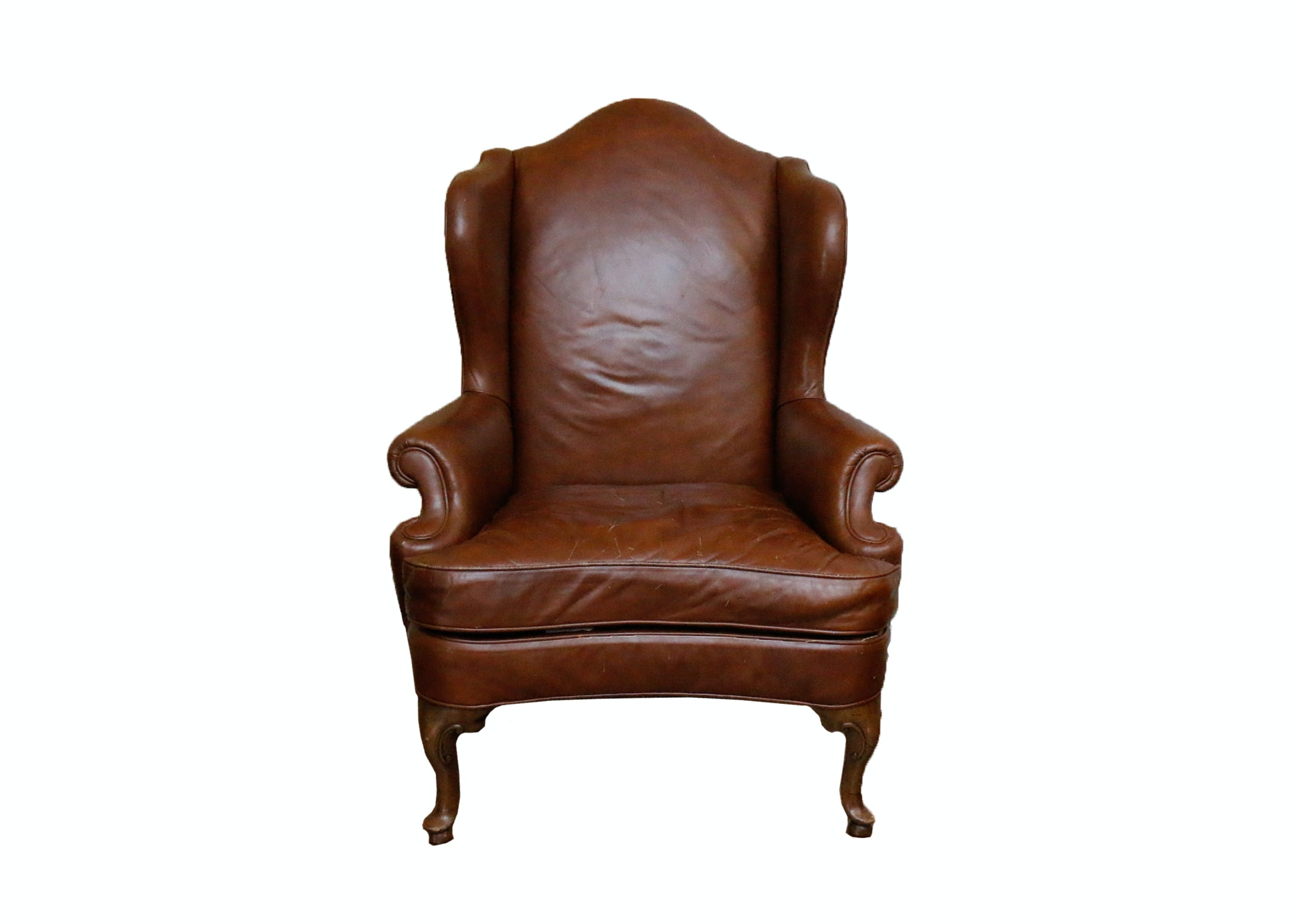Queen Anne Style Leather Wingback Chair by Drexel Heritage