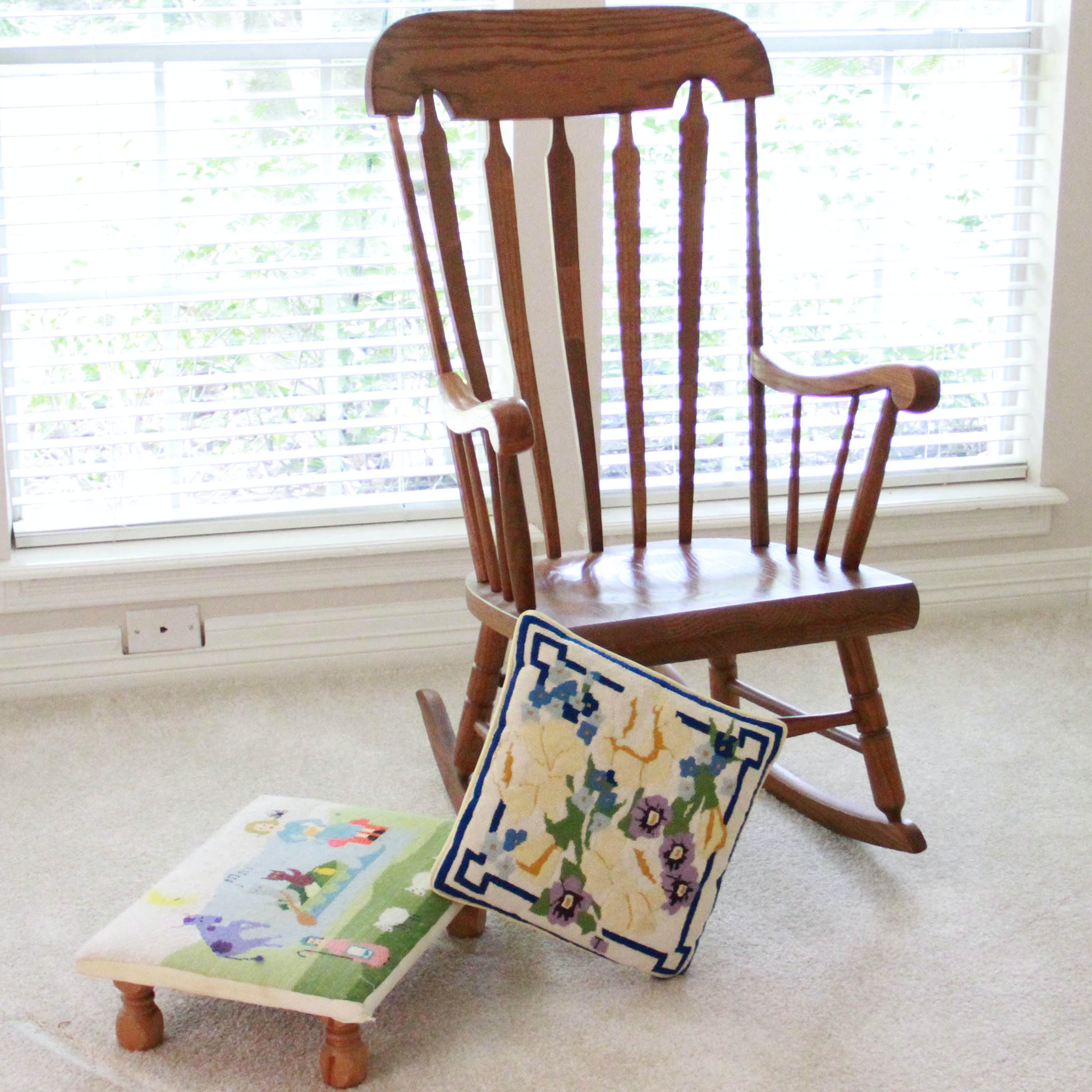 Windsor Rocking Armchair with Footstool and Pillow