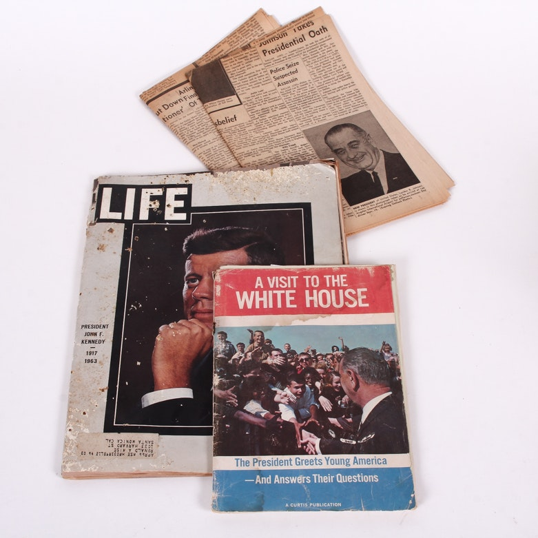 "1963 JFK Assassination ""LIFE"" Magazine with Vintage Newspapers"