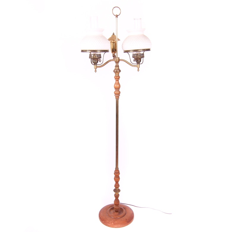 Vintage Double Socket Hurricane Floor Lamp with Hobnail Milk Glass